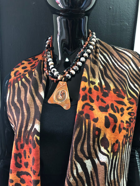 Animal Print W/Mesh Back and Sleeves Jacket