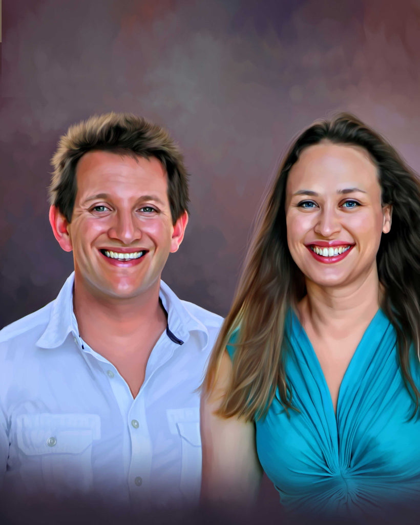 Couple portrait in digital oil painting