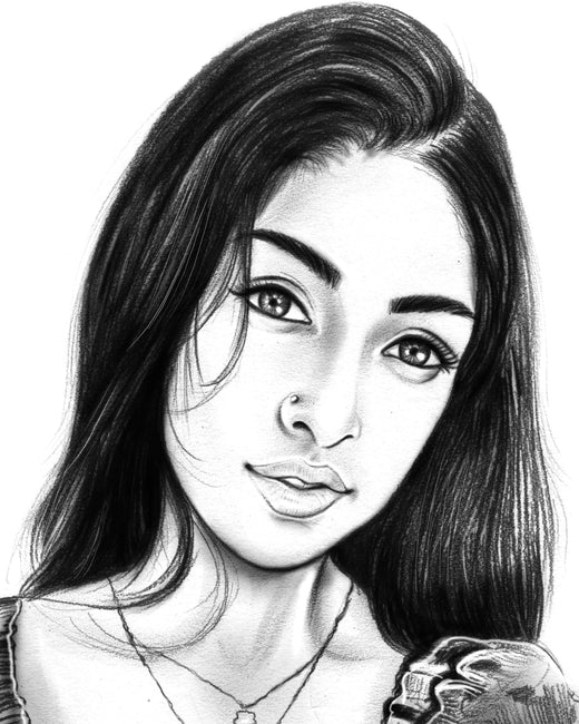 Portrait artwork in pencil finish