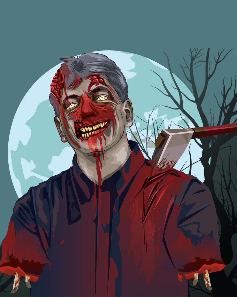 portrait in zombie style artwork