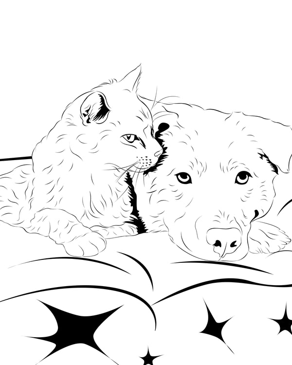 Pet Portraits Artwork in Line Art Style