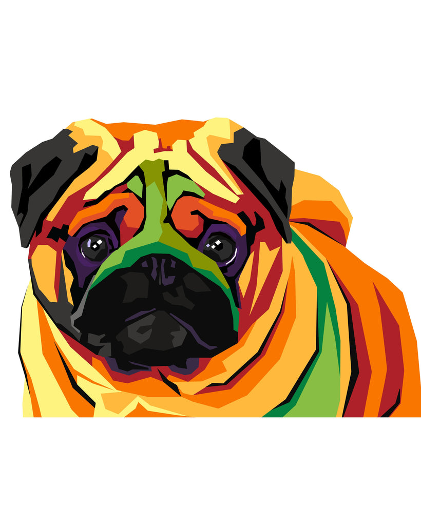 pet portrait in Color WPAP style