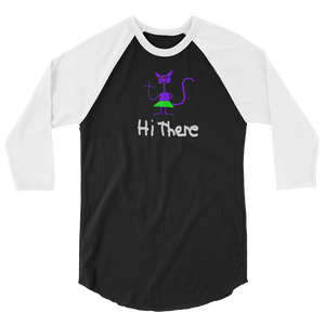Hi There Cat Girl 3/4 sleeve raglan shirt Raglan - Mowsem