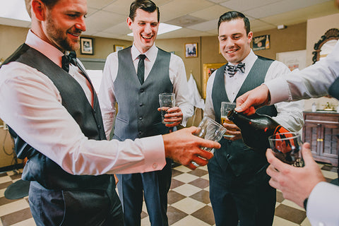 wedding day barbershop groomsmen haircut
