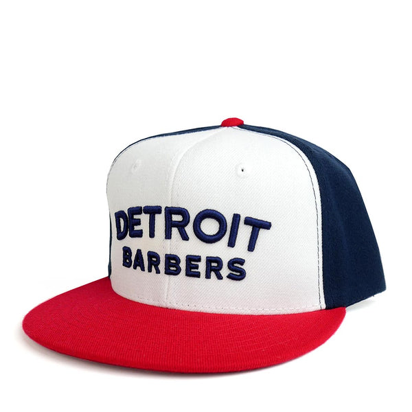 97db649b678462 Red, White & Blue Snapback Ballcap Hat w/ Blue Logo - Barbershop ...