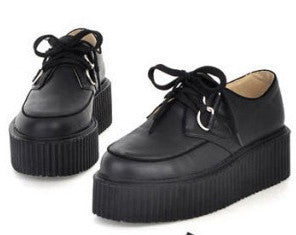 Platform shoes lace up, Artificial leather shoes Woman Spring Flat Creepers