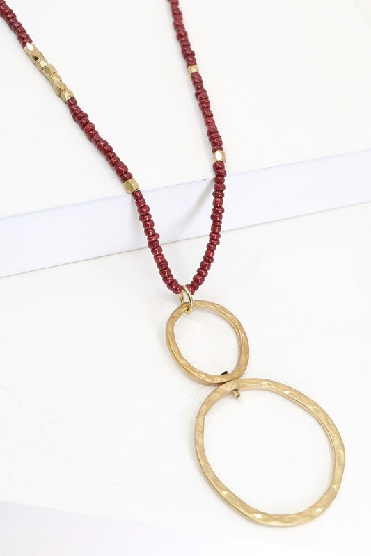 Circle Pendant Beaded Necklace
