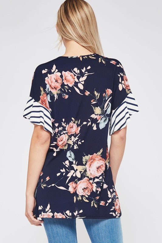Floral with Stripe Sleeve Top