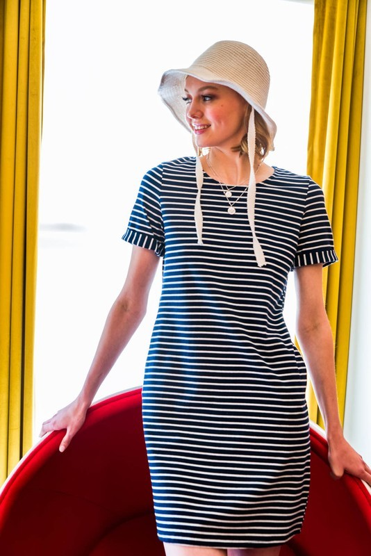 Navy Striped Button Back Dress