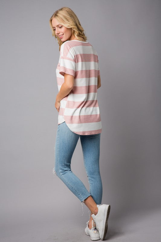 Stripe Top with Slit V-Neck, 2 Colors