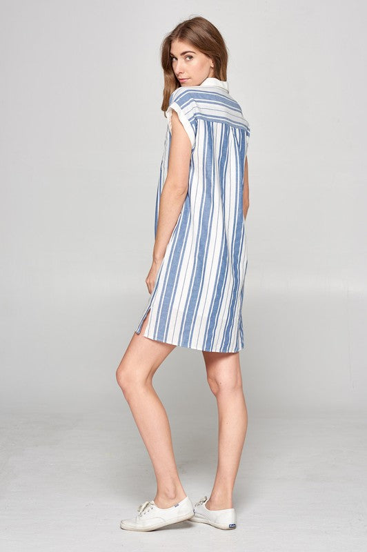 Summer Stripe Shirt Dress