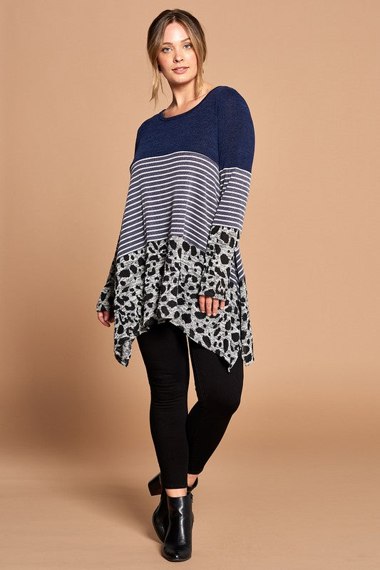 Navy Leopard Block Top