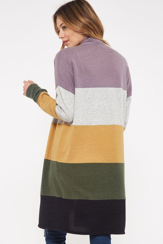 Colorblock Long Cardigan