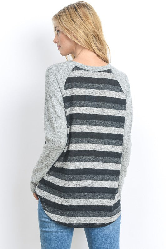 Brushed Hacci Striped Long Sleeve