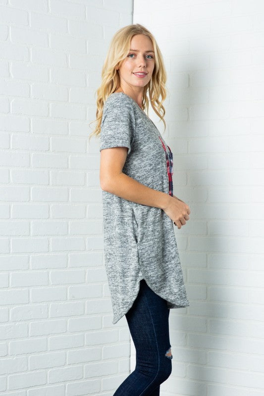 Plaid Reindeer Short Sleeve Tunic, Pockets