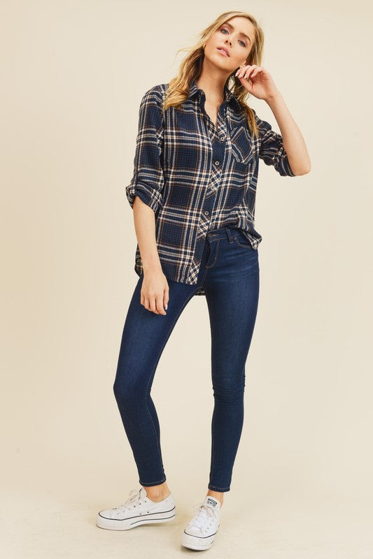 Navy Plaid Button Up Top