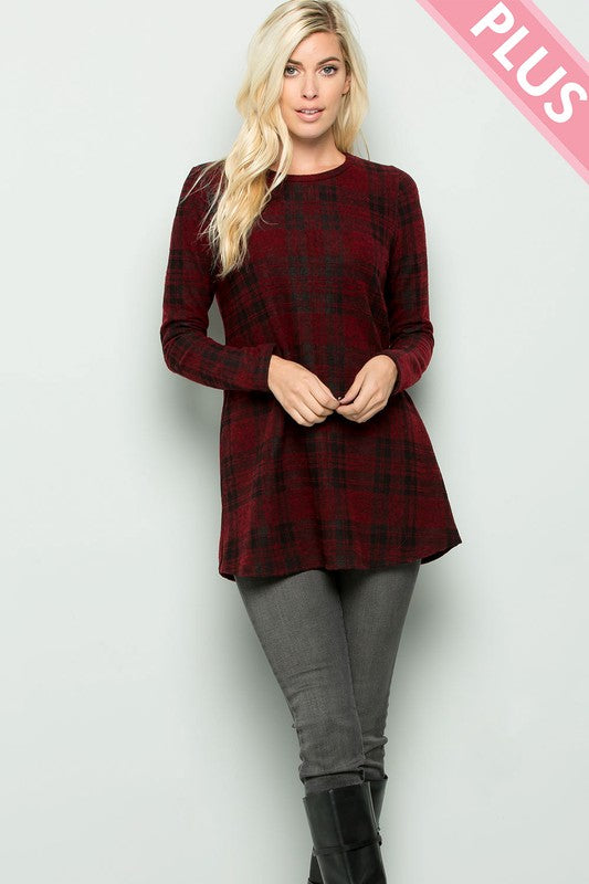 Burgundy Plaid Tunic