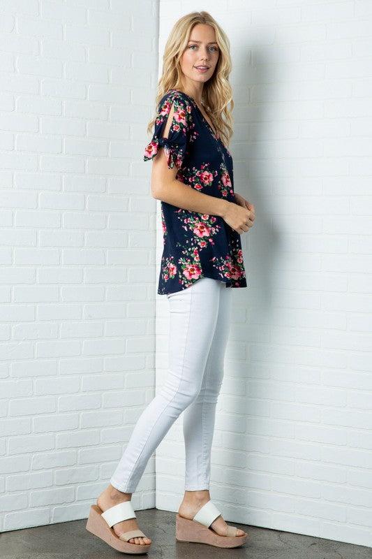 Floral Tie Sleeve Top, 2 Colors