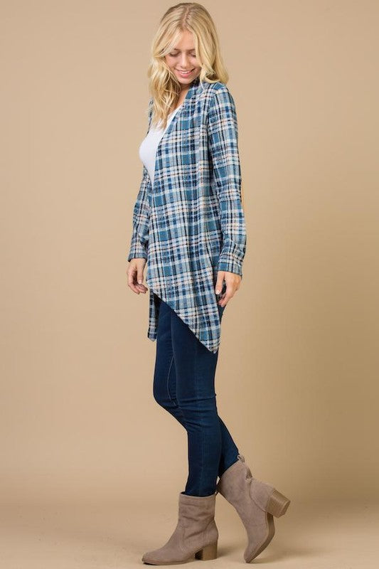 Blue Plaid Cardigan