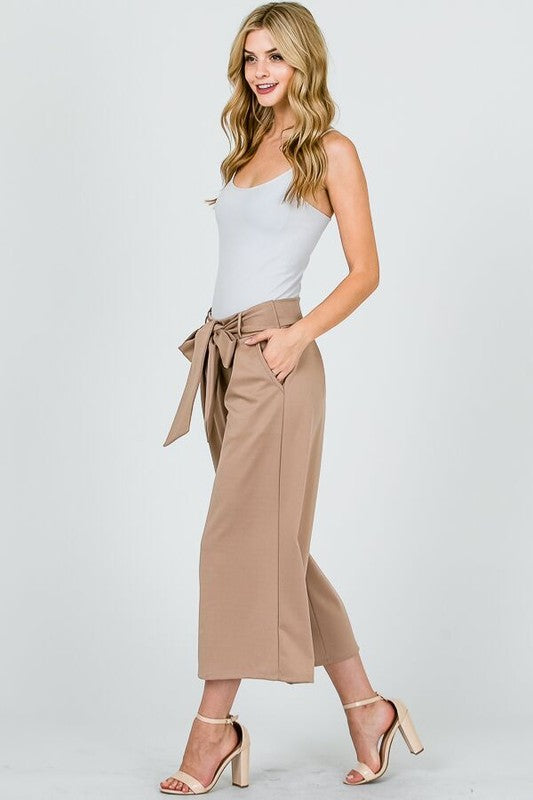 Belted Wide-Leg Crop Pants - Black
