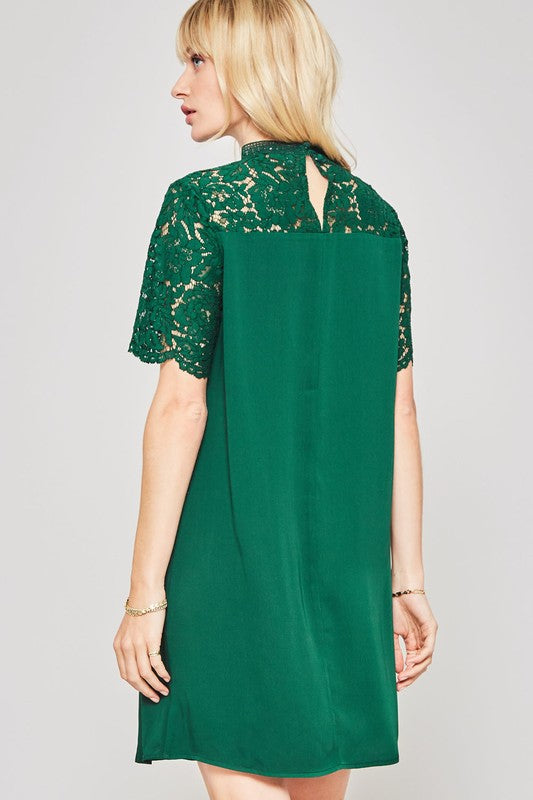 Green Floral Lace Sleeve Dress