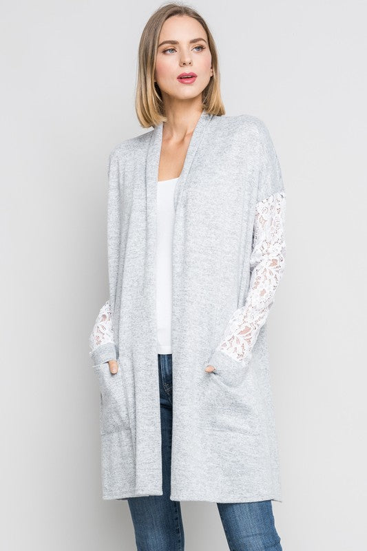 Lace Sleeve Cardigan