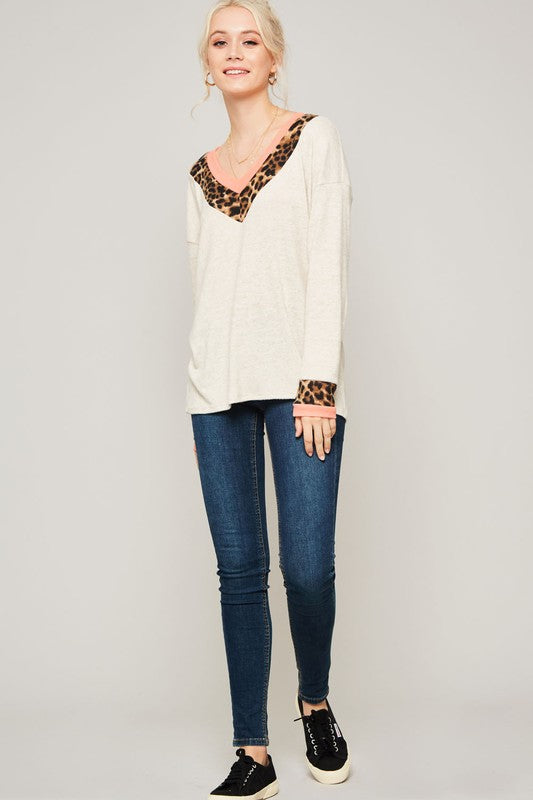 Leopard Trim V-Neck Sweater