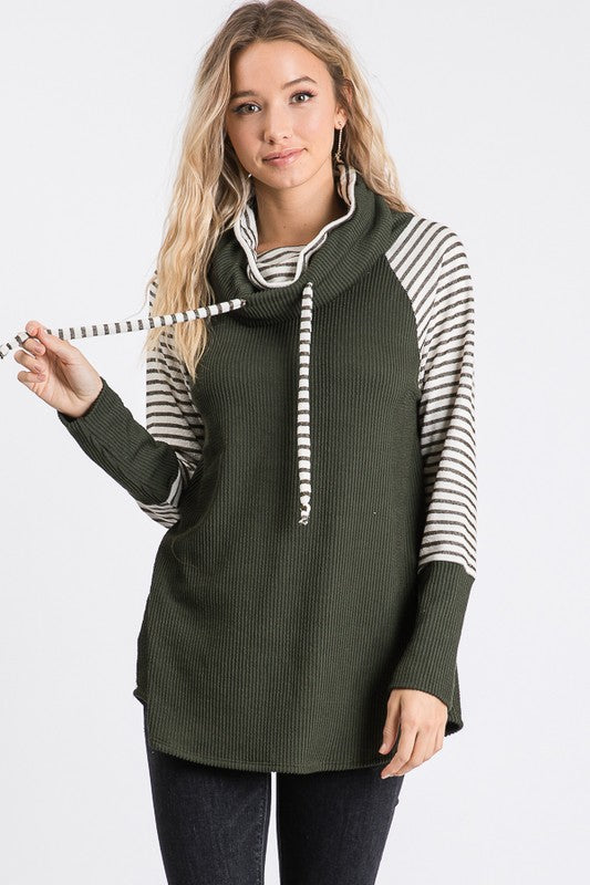 Olive Striped Cowl Neck Top