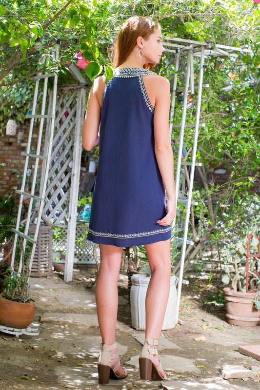 Lapis Embroidered Dress