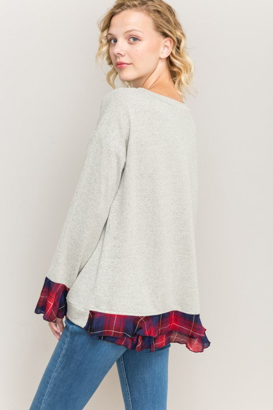 Peek A Boo Plaid Sweater