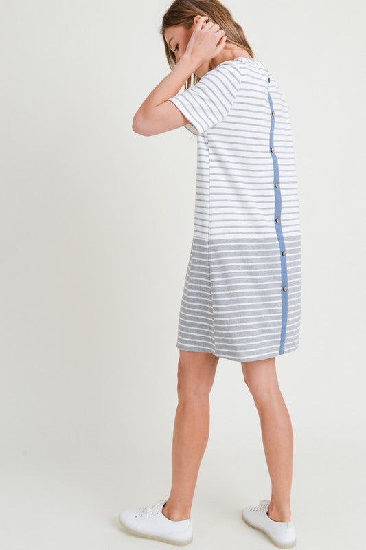 Grey Contrasting Striped Dress
