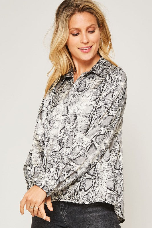 Snakeskin V-Neck Blouse