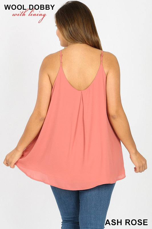 Pleated Double Layer Cami, Many Colors