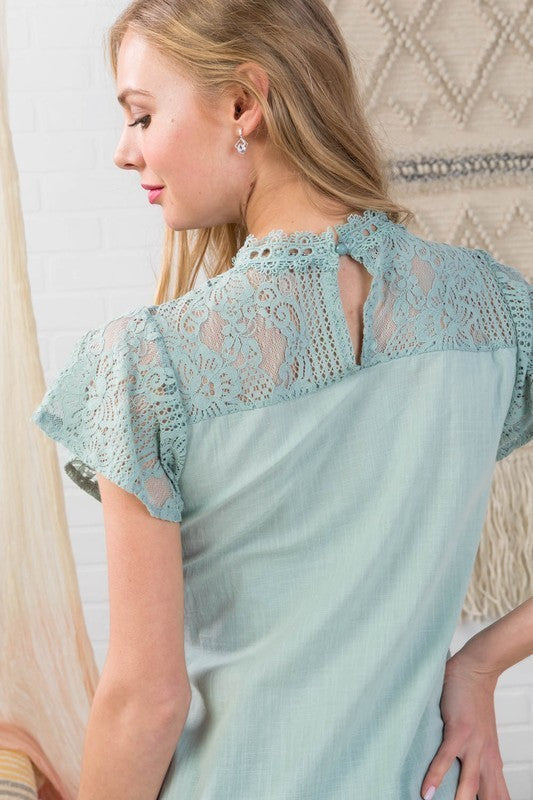Sage Lace Inset Top