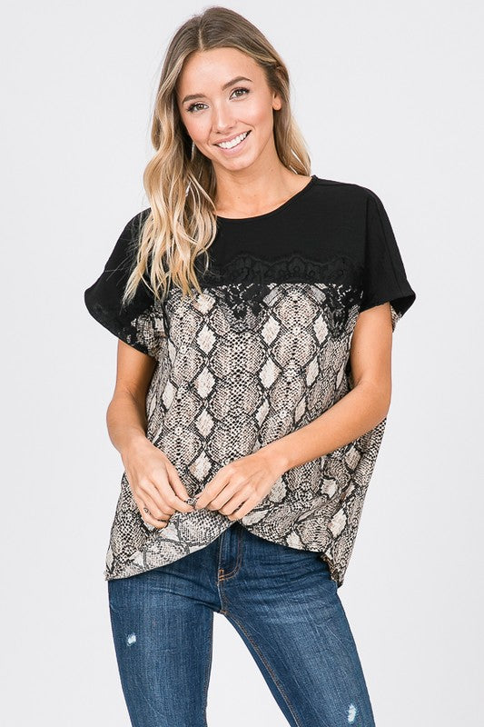 Snakeskin Lace Top