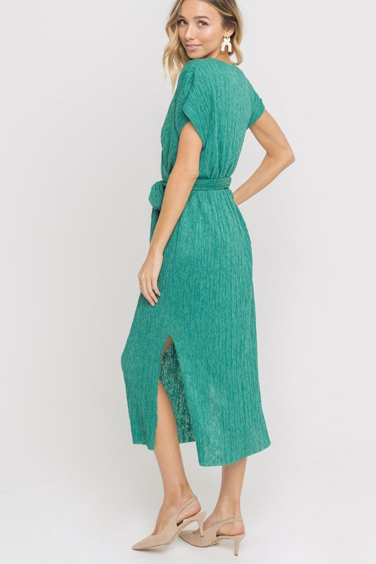 Jade Luxe Micropleat Dress