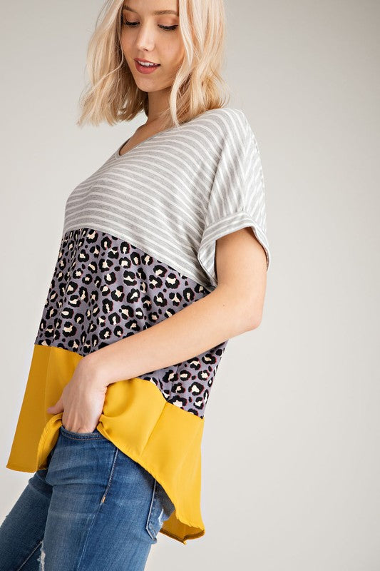 Coloblock Patterned Top