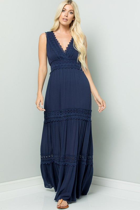 Tiered Lace Maxi Dress
