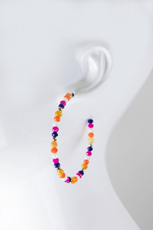 Big Beaded Hoops, 3 Colors