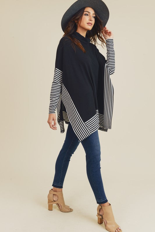 Striped Oversized Poncho