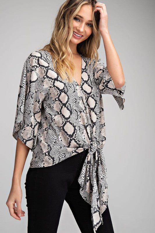 Snake Tie Front Blouse