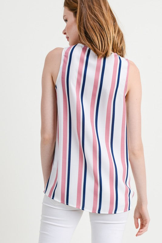 Navy & Blush Wrap Tank