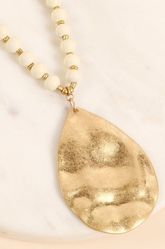 Ivory Hammered Metal Pendant