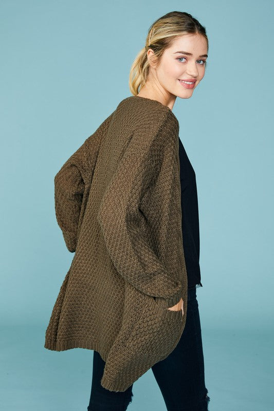 Cable Knit Trimmed Cardigan, 2 Colors