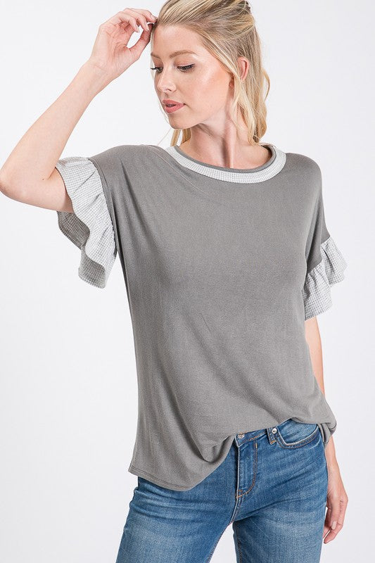 Grey Gingham Check Top