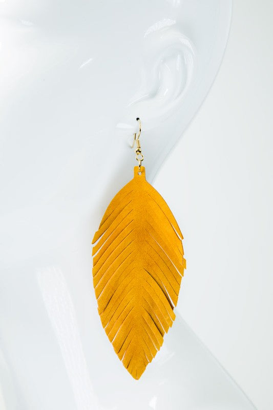 "4"" Leather Feather Statement Earrings"