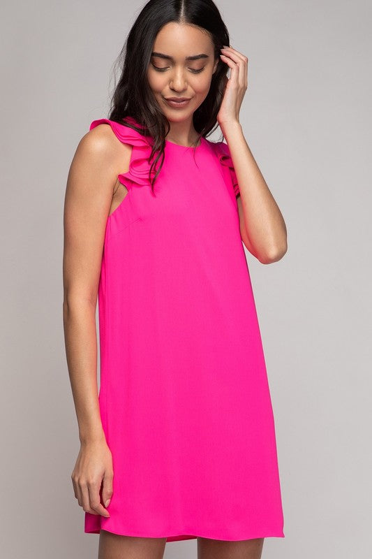 Ruffle Trim Dress - 3 Colors