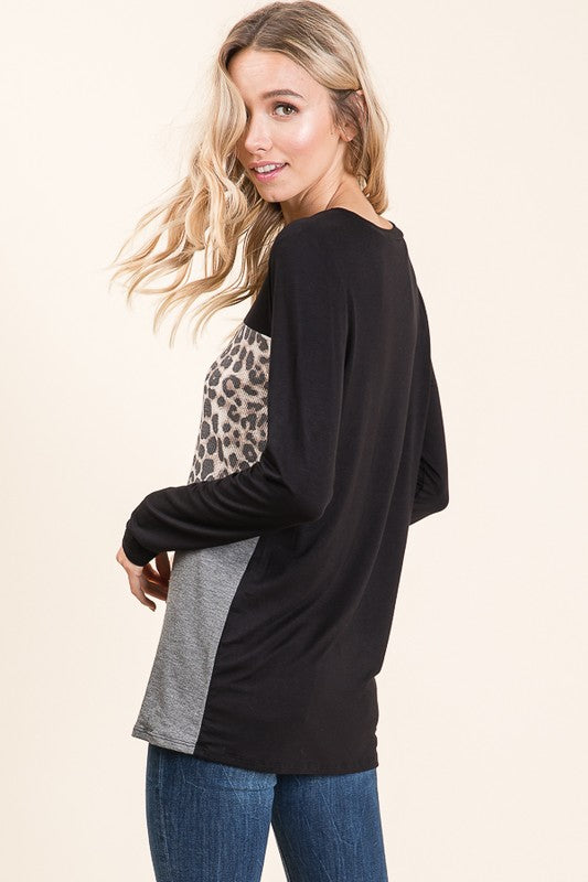 Leopard Block Black Long Sleeve Top