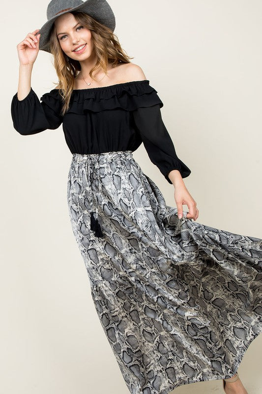 Ruffled Snakeskin Maxi Dress
