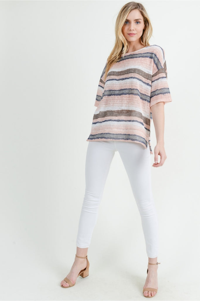 Blush Ombre Striped Top